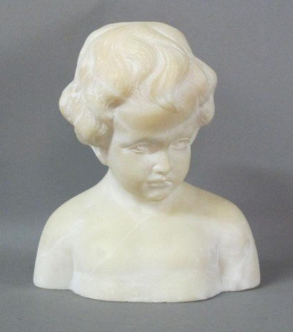 SMALL ALABASTER BUST OF BOY: