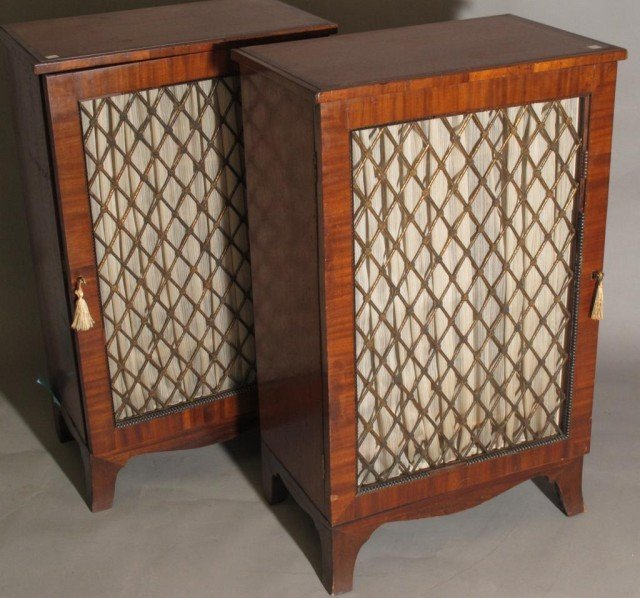 PAIR EDWARDIAN CABINET STANDS: