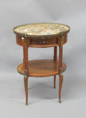 MARBLE TOP MARQUETRY TWO-TIERED OVAL STAND: