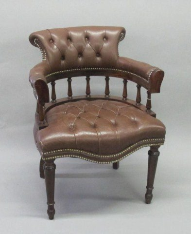 BUTTON TUFTED LEATHER ARM CHAIR: