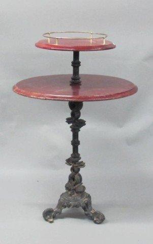 TWO TIERED MAHOGANY & IRON PUB TABLE: