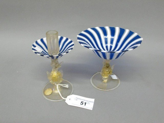MURANO GLASS COMPOTE & CANDLE HOLDER: