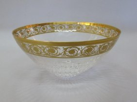 ANTIQUE ST. LOUIS FRANCE GILT CRYSTAL BOWL: