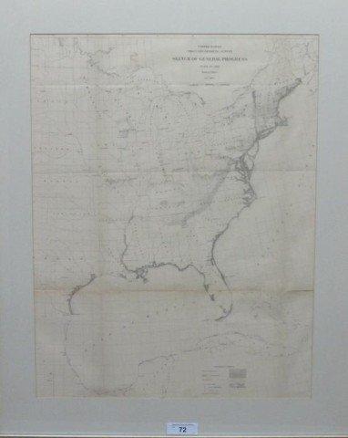 ANTIQUE 1881 US MAP: