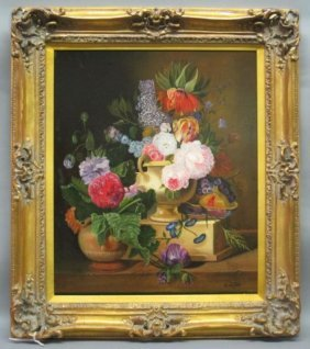 OIL ON CANVAS FLORAL STILL LIFE:
