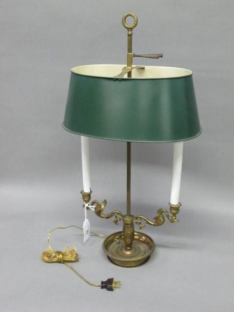 GILT BRONZE & TOLE SHADE LAMP: