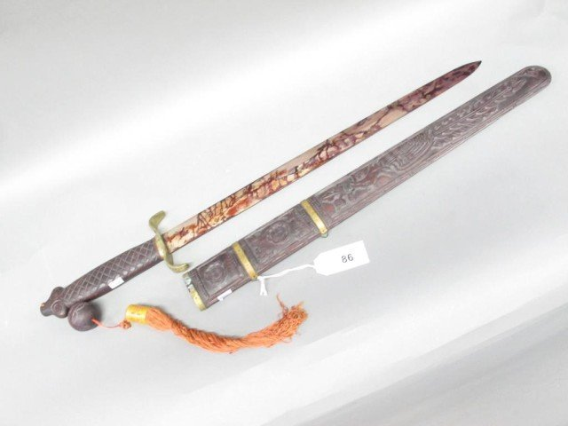 CARVED CHINESE ROSEWOOD SWORD: