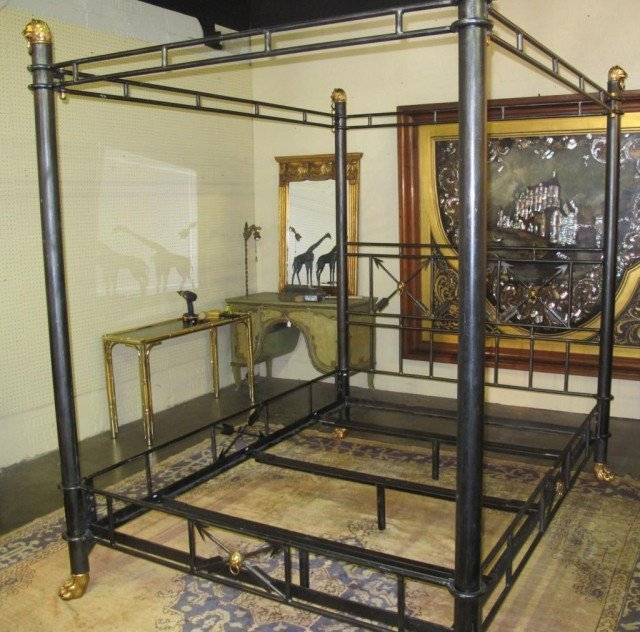 LARGE MAITLAND-SMITH WROUGHT IRON POSTER BED