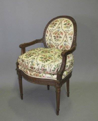 4: ANTIQUE FRENCH CARVED BERGERE: