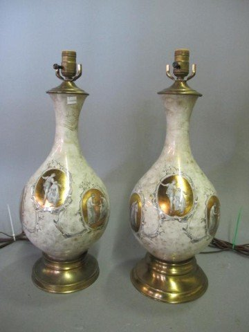 9: PAIR BALUSTER FORM REVERSE PAINTED GLASS LAMPS: