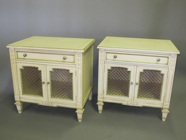19: PAIR PAINTED END TABLES: