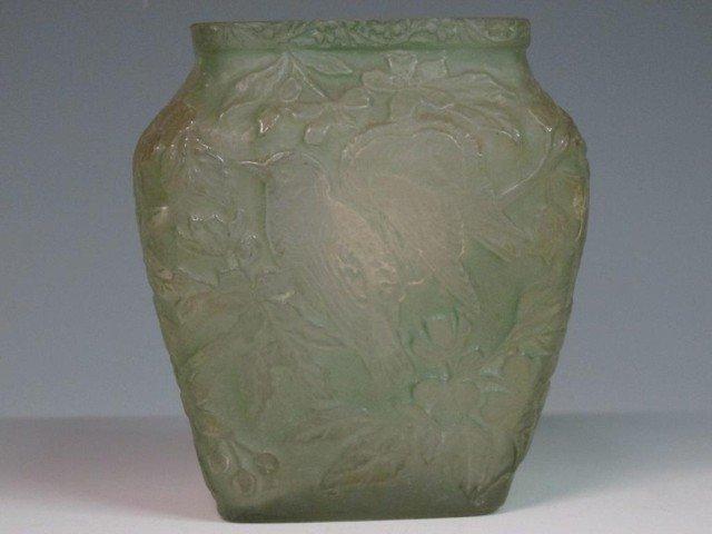 23: PHOENIX CONSOLIDATED GREEN GLASS BIRD VASE: