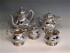 258 5 PIECE FRANK M WHITING STERLING TEA SET