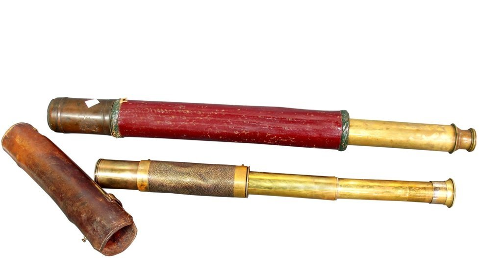 10: TWO ANTIQUE LEATHER CASED TELESCOPES: