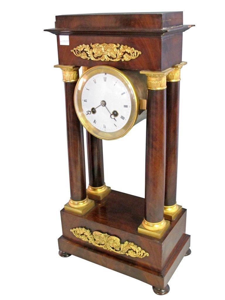 20: EMPIRE ORMOLU MOUNTED MAHOGANY PORTICO CLOCK: