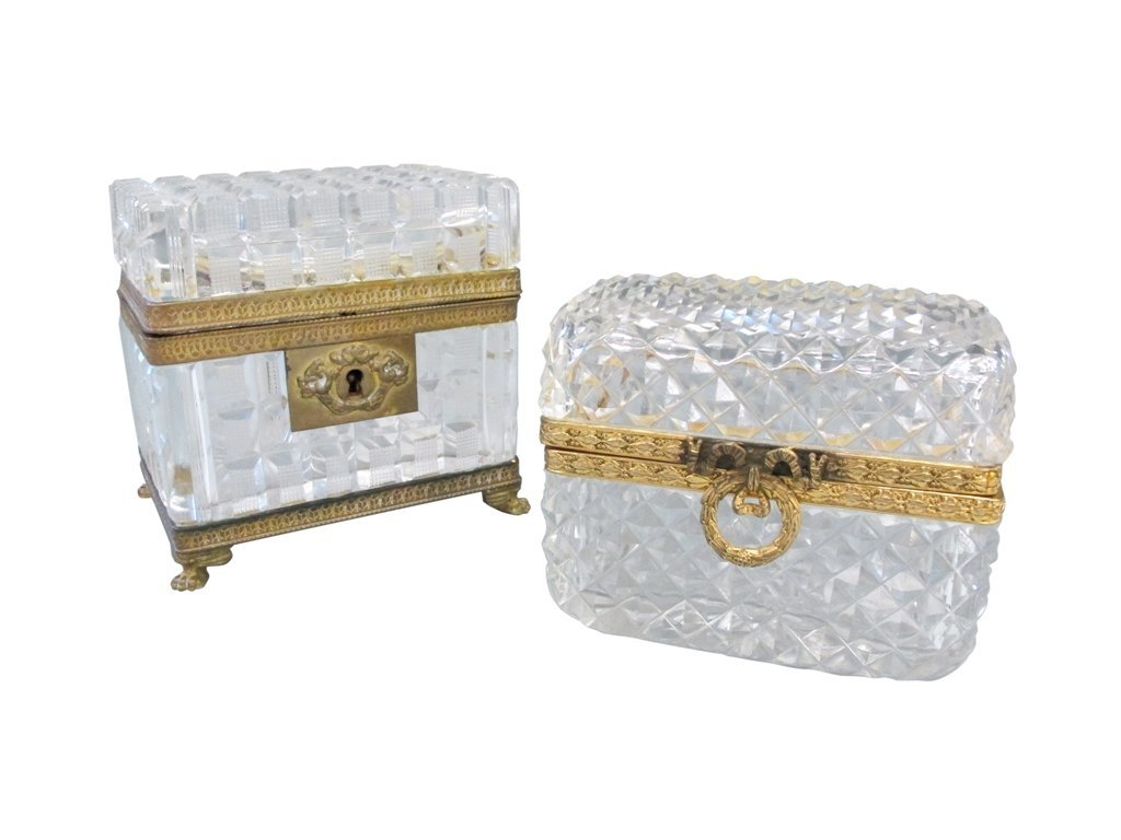 22: TWO CUT CRYSTAL DRESSER BOXES