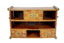 56 ANTIQUE CHINESE BRASS MOUNTED WOODEN SIDEBOARD