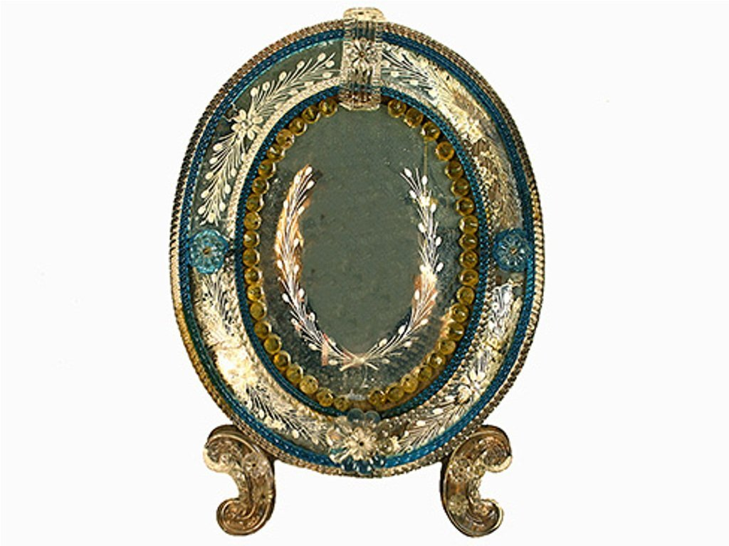 VENETIAN GLASS FRAME W/ ETCHED GLASS MIRRORPLATE: