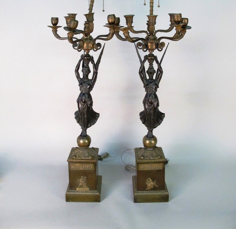 PAIR 19TH C FRENCH EMPIRE STYLE CANDELABRA: