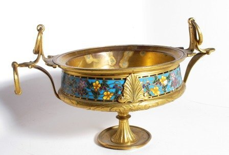 A GILT BRONZE AND CHAMPLEVE TAZZA:
