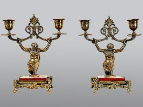 A PAIR OF NEOCLASSICAL TWO LIGHT CANDELABRUM: