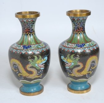 A PAIR OF CHINESE CLOISONNE VASES: