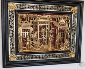ANTIQUE ORIENTAL WALL PLAQUE:
