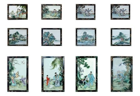 A SET OF TWELVE CHINESE PORCELAIN TILES: