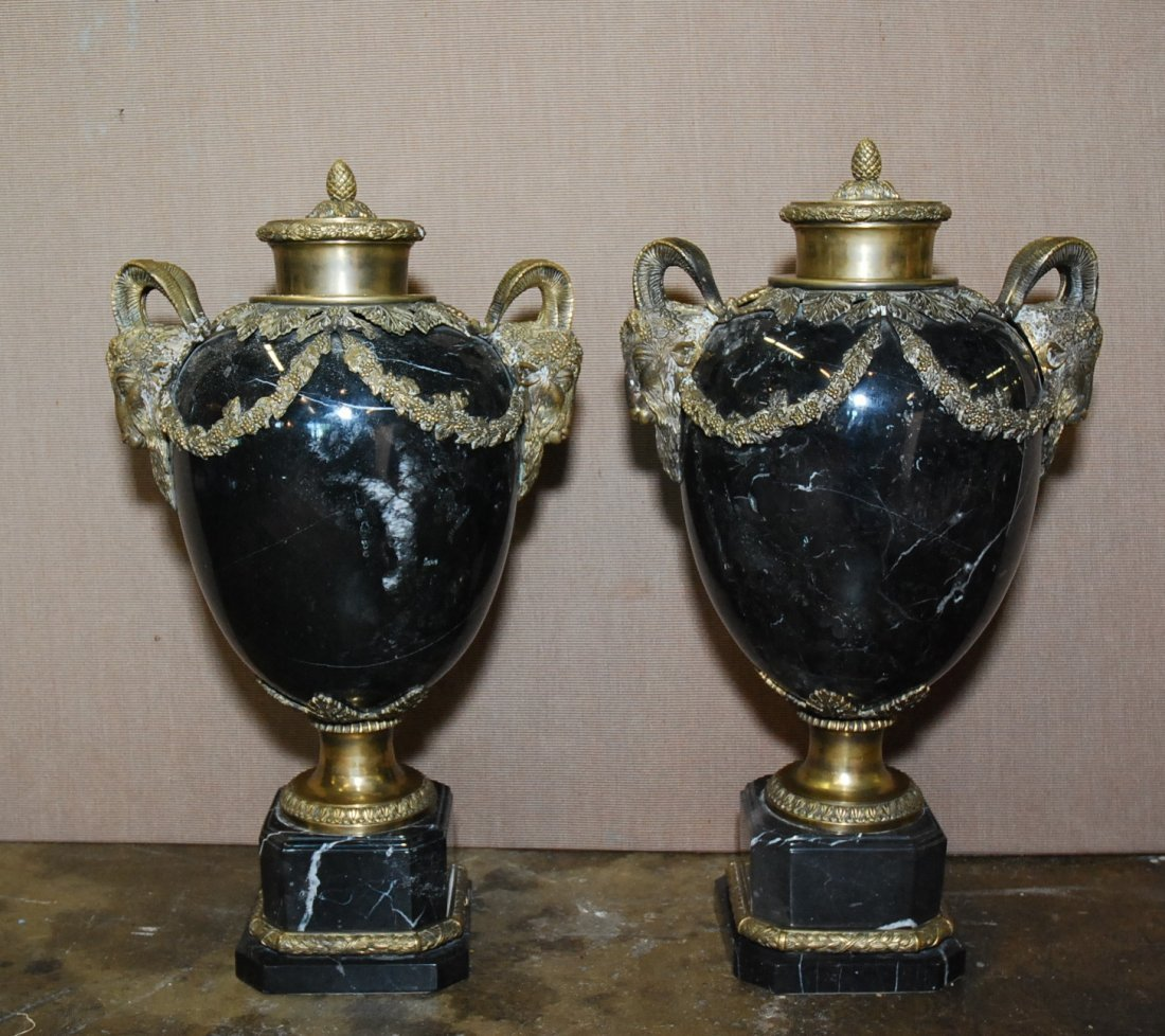 PAIR OF CLASSICAL STYLE MARBLE BRONZE URNS: