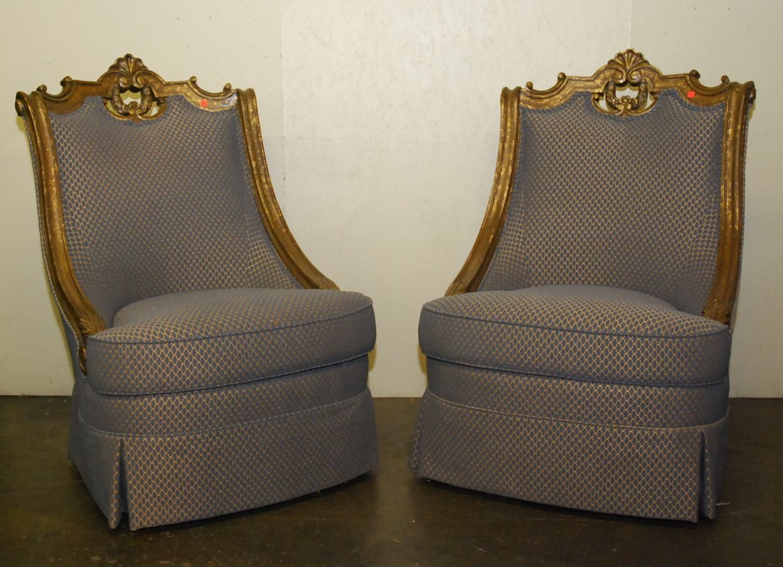 PAIR OF OVERSIZED CARVED UPHOLSTERED CHAIRS