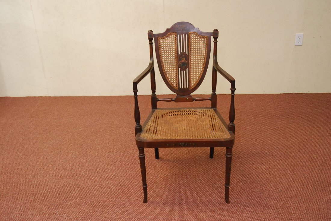 ANTIQUE ARM SIDE CHAIR WITH CANE SEAT
