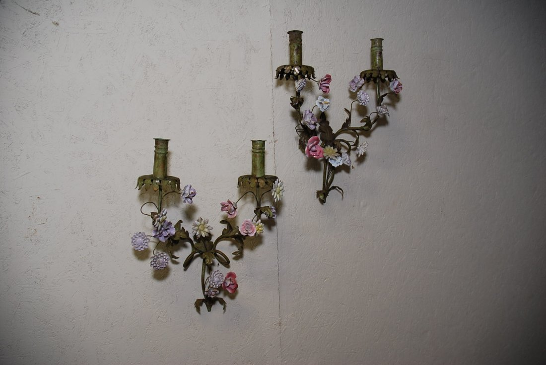 PAIR OF FRENCH TOLE AND PORCELAIN SCONCES