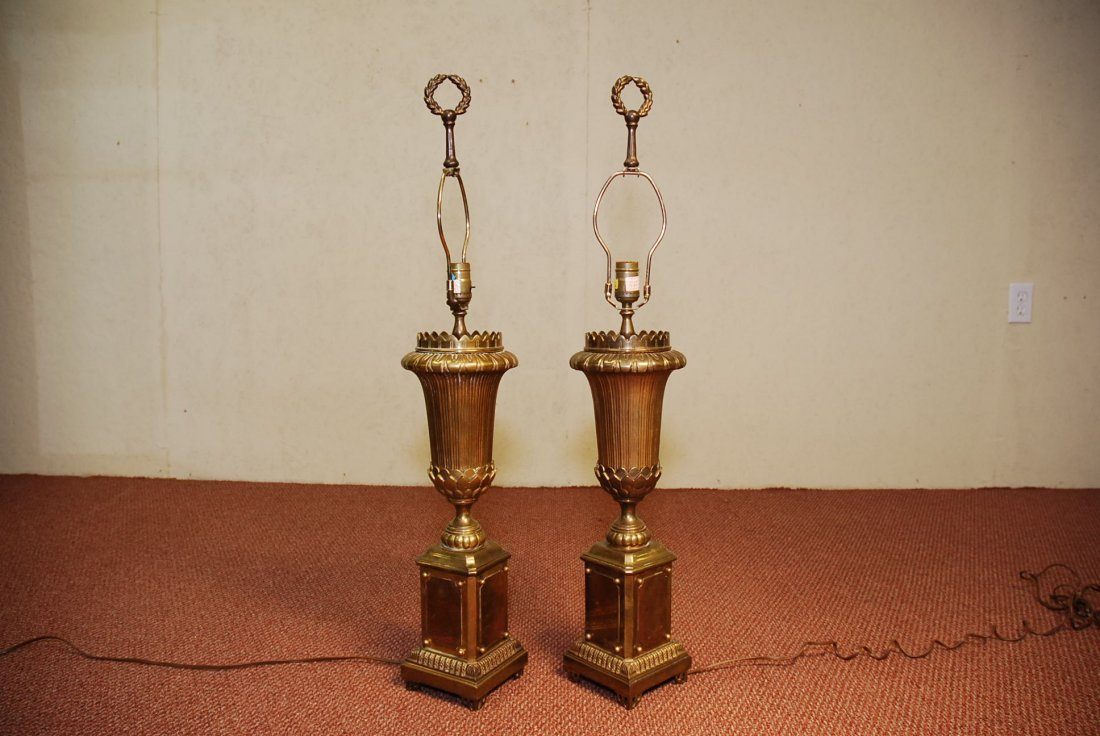 PAIR OF BRASS URN FORM TABLE LAMPS BY CHAPMAN