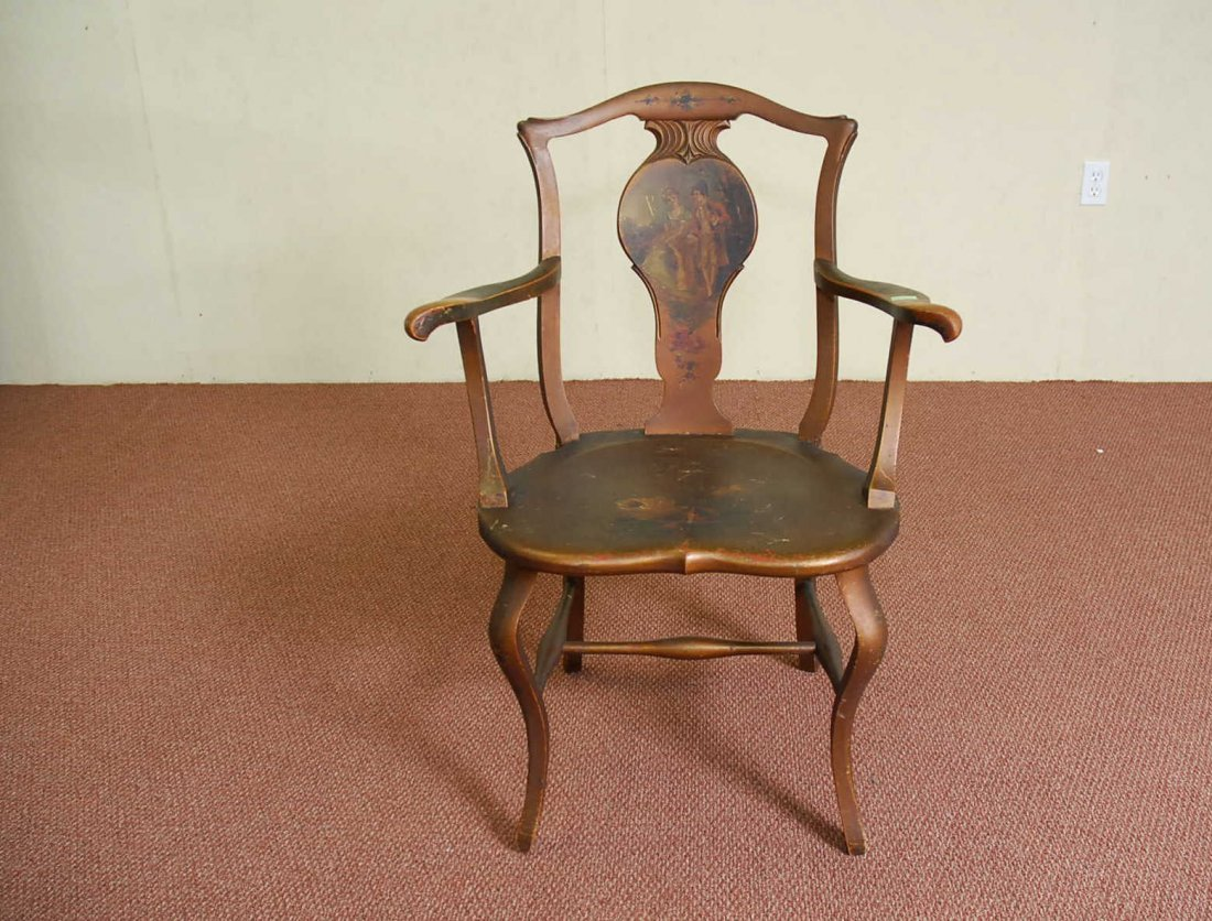 19TH CENTURY FRENCH SPLAT BACK ARM CHAIR