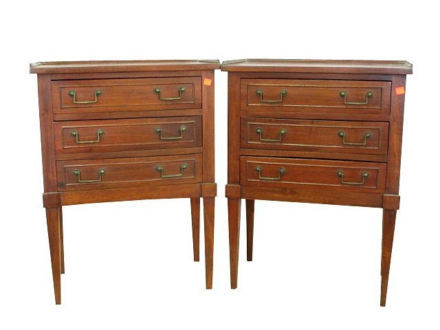 PAIR OF THREE DRAWER DIRECTOIRE STYLE STANDS: