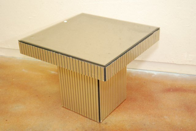 LOW MIRROR TOP CHROME TABLE
