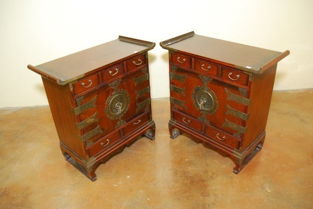 PAIR ASIAN STYLE SIDE TABLES
