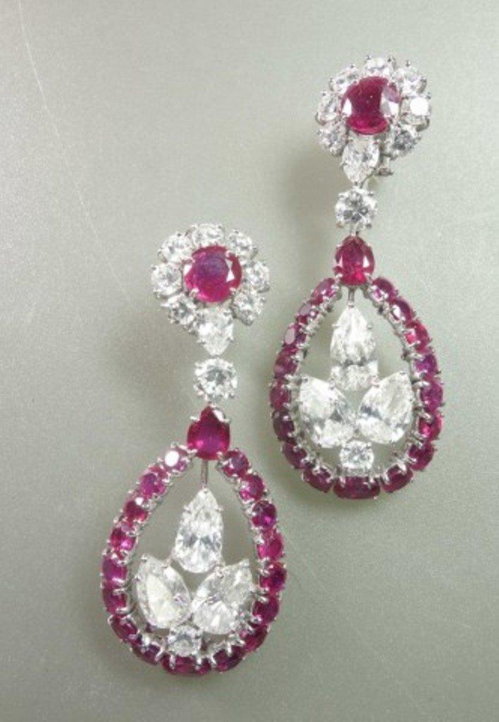 8.5ct DIAMOND & RUBY EARRINGS IN PLATINUM SETTING