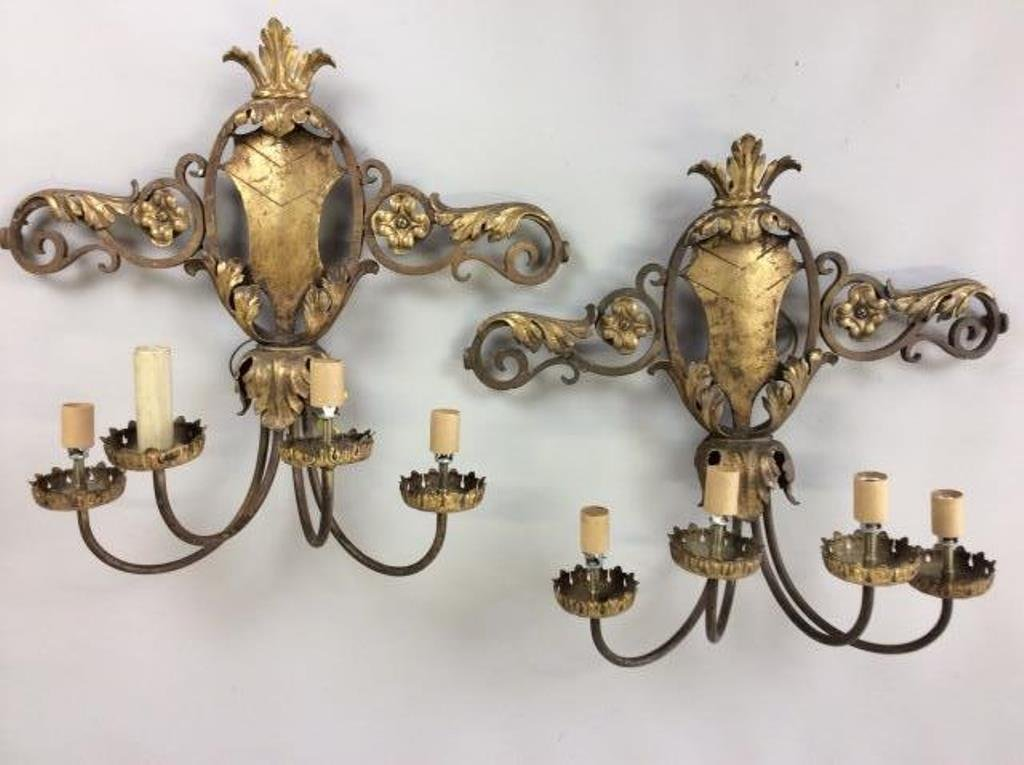 Gilt Wrought Iron Shield  Back Sconces