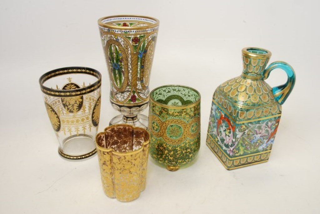 Group of  Venetian glass with enamel decoration