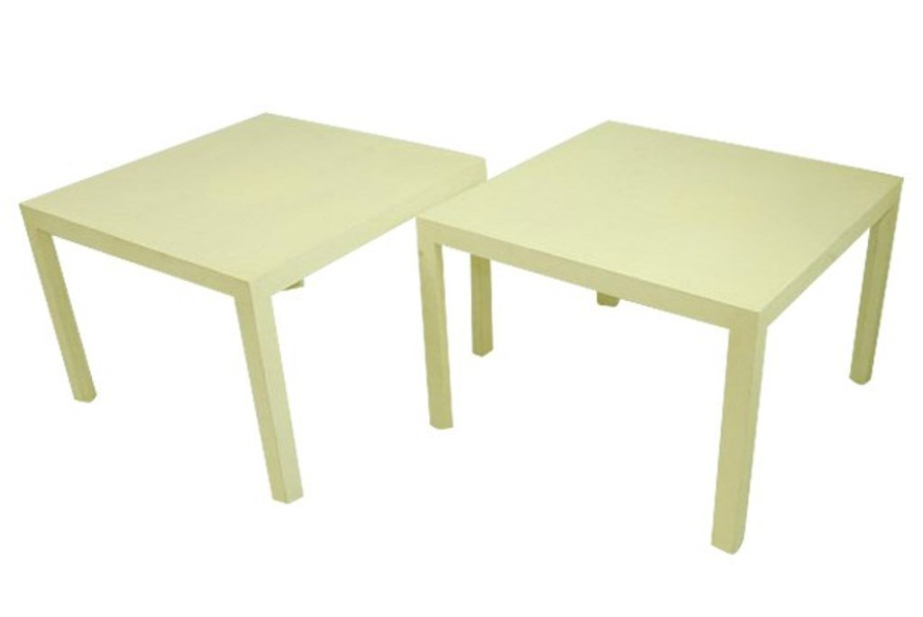Pair Crackle Painted Side Tables