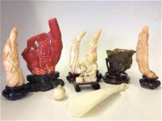 Group Nine Asian Carved Stone Objects