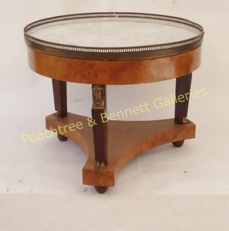 French Empire Elm Geridon w/ Marble Top