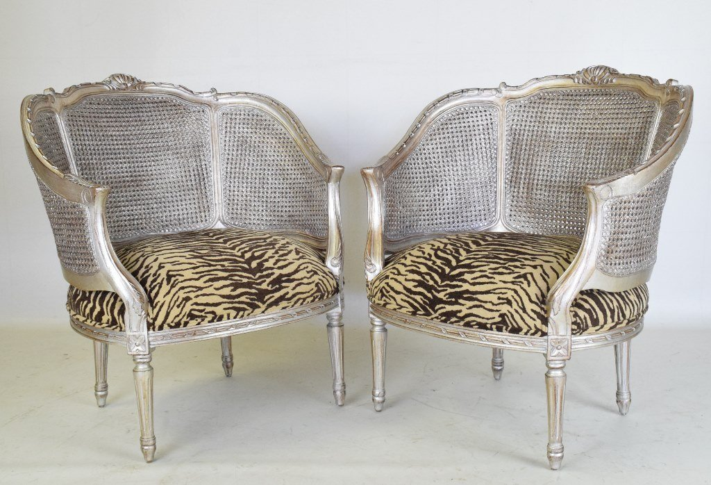 Pair French Silver Gilt Bergeres