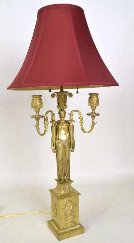 French Empire Gilt Bronze Table Lamp