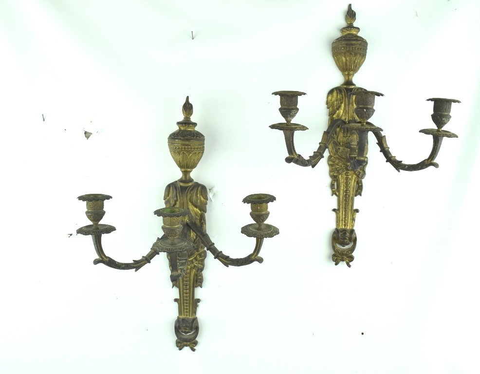 Pair French Bronze Candle Sconces
