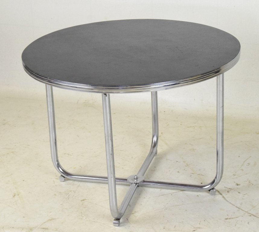 Mid Century Chrome and Lacquer Table