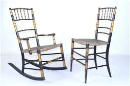 Antique Faux Bamboo Painted Rocker and Side Chair