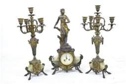 Three Piece Clock Set and Garnitures