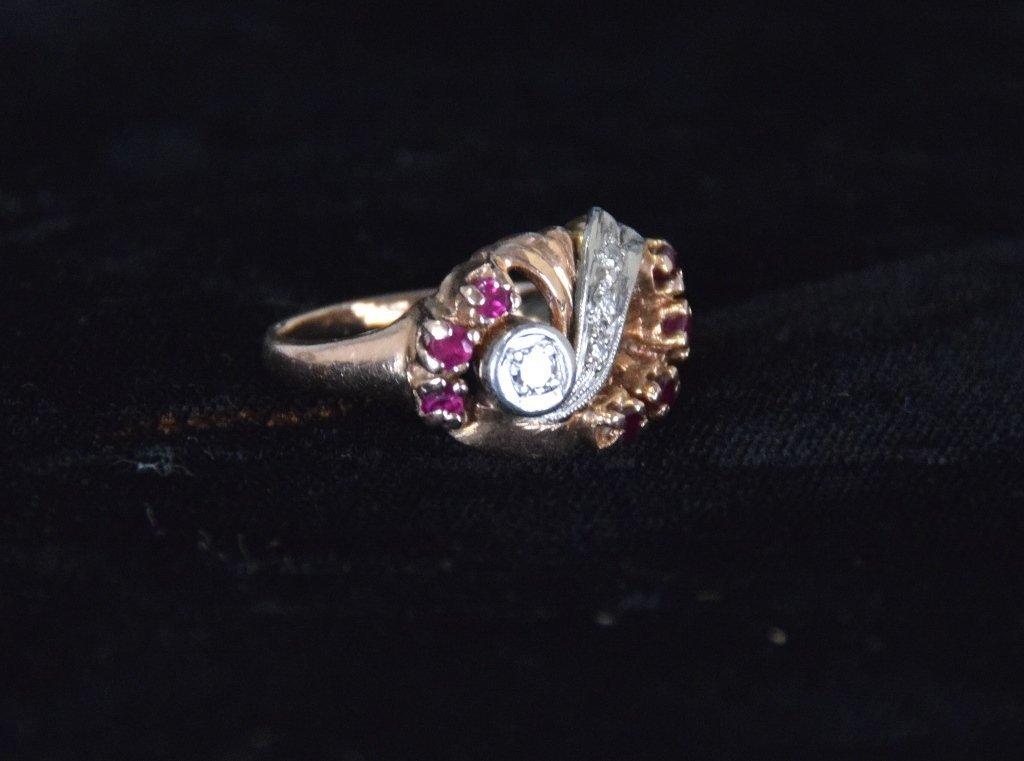 Art Deco 14K Rose Gold Ruby & Diamond Ring